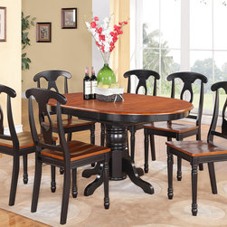 "East West Furniture - Kenley 7Pc with Single Pedestal Dining Table and 6 Napoleon Chairs - Kenley 7Pc with Single Pedestal Oval Dining Table and 6 Napoleon Styled Wood Seat Chairs.; Kenley's simple and elegant dining room sets complement any kitchen with rich accents and sophisticated style.; These Kenley table and chairs offer appeal and simple design for a comfortable and relaxed impression with a simple touch of class.; Elegant dinette in rich Black & Cherry finish with sleek black accents.; Oval dining table with 18"" butterfly leaf.; Beautiful Napoleon style dining chairs with wood seats .; Constructed from exquisite Asian solid wood.; Chairs feature an ""S"" curve for back comfort with a sophisticated circle inset.; Chairs are elegantly designed with cylindrical-lathed front legs for a classical look.; Simple assembly required; Weight: 205 lbs; Dimensions: Table: 42-60""L x 42""W x 30""H; Chair: 18""L x 18""W x 38""H"