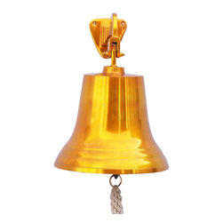 "Handcrafted Model Ships - Solid Brass US Navy Ship's Bell 15"" - Decorative Brass Bell - Elegantly designed and gleaming with a lustrous shine, this fabulous Brass US Navy Ship's Bell 15"" is equally stunning indoors or out. In addition to being fully functional, this brass bell is a great addition to any nautical decor themed room. Make a nautical wall decor statement and enjoy this wonderfully decorative style and distinct, warm ""strike through"" nautical tone with each and every resounding ring. Note: Each ships bell's length is measured from the highest point of its hanger to the lower lip of the bell, while the width is the diameter of the flared bell opening. Dimensions: 9.5"" Long x 9.5"" Wide x 15"" High"