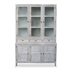 Colonial Hutch - White Wash - Ample display and convenient storage come together in this handsome whitewashed cabinet, the Colonial Hutch. An appropriate display piece for living spaces, entries and passages, or dining rooms and kitchens, this hutch contrasts dark hardware against the weathered depth of its pale finish and the soft, antique coolness of the clear glass panels in its doors.