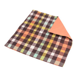 abbey's house - Brown and coral plaid security blanket - This security blanket is the perfect size for your little one to carry with them everywhere. It has a multi-colored plaid print on the front and a soft, cozy flannel on the back that you can't resist cuddling up with. It's perfect for baby to toddler to take on the go.