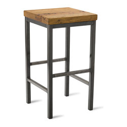 "Vermont Farm Table - Square Metal Stool, Reclaimed Chestnut, 25""h - Reclaimed wood combined with sleek metal elements are the guiding principals behind good industrial design. This stool, in your choice of three heights, embodies the best of the modern trend. It's stylish seating that plays well in the contemporary kitchen."