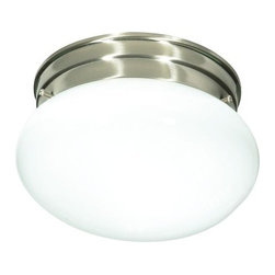 "Nuvo Lighting - Nuvo Lighting 76/601 Single Light 8"" Flush Mount Ceiling Fixture with Small Whit - Nuvo Lighting 76/601 Single Light 8"" Flush Mount Ceiling Fixture with Small White Mushroom Shade, in Brushed Nickel FinishNuvo Lighting 76/601 Features:"