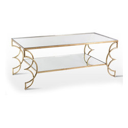 Interlude Home - Interlude Home Ofelia Cocktail Table - A modern take on the Interlude Home Somrig Cocktail Table, the supports have intriguing circular design elements that make it a true conversation piece. Made from Iron/Glass. Finished in Antique Gold Leaf.