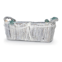 Palecek - Glassnet Rectangular Basket, Large - Basket is made from repurposed hardwood, recycled glass accents, with a fish netting decor. Finished in a natural wash technique.