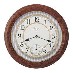 BULOVA - Bulova William Solid Oak Wall Clock Model C4596 - This oak wall clock features: