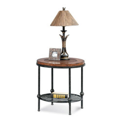 Bassett Mirror Company - Bassett Mirror T1062-220 Bentley Round End Table w/ Shelf - Round End Table w/ Shelf with Faux Leather and Wood Top and Gun Metal Base belongs to Bentley Collection by Bassett Mirror Company Bassett Mirror is fluent in this art, showing a terrific contemporary furniture that will satisfy on the one hand fans of home coziness, and on the other hand - seekers of non-standard design solutions also. One of the many strengths of the Bassett Mirror is using high quality materials for perfect embodiment of brilliant design ideas. End Table (1)