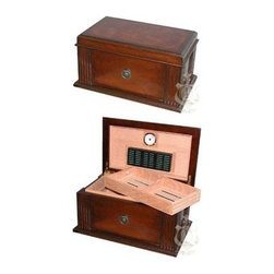 Quality Importers - Amalfi Cigar Humidor - For those with a classic taste  here's a design inspired by antique furniture. Opens and closes smoothly on hidden quadrant hinges. Features engraveable brass nameplate  antique brass pull  plus: Holds up to 50 cigars  Large Rectangle Humidifier  1 Glass Hygrometer with Brass Frame  SureSeal  Technology Insures Proper Lid Seal on Closure  Lined with Premium Kiln Dried  Spanish Cedar  Ash Burl Parquet top  Hidden Quadrant hinges  Antique brass pull  1 Spanish  Cedar lift-out tray  2 dividers at the bottom  Lined with Spanish cedar  Engraveable Brass  Nameplate  Maple veneer with French Antique Distressed Walnut finish  Capacity: 50-75 Cigars  This item cannot be shipped to APO/FPO addresses. Please accept our apologies.