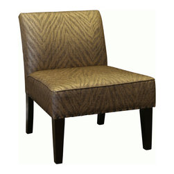 4D Concepts - 4D Concepts Belinda Accent Chair in Metallic Woven Linen - What a beautifully crafted upholstered accent chair.  The Belinda chair is upholstered in a metallic animal print that gives this chair a classic look with a subtle flair for any room in the home.   The large curved back and oversized seat is perfect for any den, living room, or entry way in the home.  The single row of decorative antique brass nail heads accenting the edge of the chair is what gives this stylish chair the look found only in designer showrooms.  This chair will fit perfectly in the home and will give that room an added distinctive touch.  The thick solid wood legs are finished in a rich espresso finish.  Constructed of wood and fabric. Clean with a dry non abrasive cloth.  Light Assembly required.