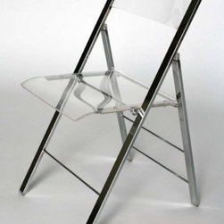 Clear Acrylic Folding chair with Chrome Base - Rent chairs for the night from your local party rental company, or buy a few to keep on hand for all your parties during the year.