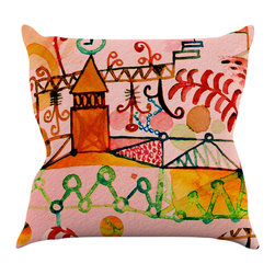 """Kess InHouse - Marianna Tankelevich """"Happy Town"""" Pink Throw Pillow (18"""" x 18"""") - Rest among the art you love. Transform your hang out room into a hip gallery, that's also comfortable. With this pillow you can create an environment that reflects your unique style. It's amazing what a throw pillow can do to complete a room. (Kess InHouse is not responsible for pillow fighting that may occur as the result of creative stimulation)."""