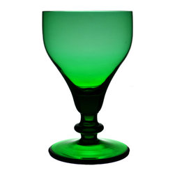 Lavish Shoestring - Consigned 6 Green Wine Rummer Glasses, Vintage English - This is a vintage one-of-a-kind item.Imposing set of 6 wine glasses in green on a knob foot; vintage English, first half of the 20th century.Product Details