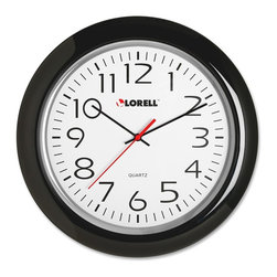 Lorell - Lorell Wall Clock - Analog - Quartz - 13-1/4 round wall clock features Quartz movement and a black frame. Easy-to-read white dial has Arabic numerals, black minute and hour hands, a red second hand, PVC clock face and glass front lens. Wall clock runs on one AA battery (sold separately).