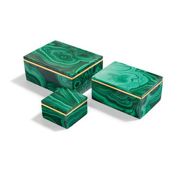 Andu Malachite Box - They may indeed hold your beautiful jewels or delicate mementos, yet these boxes are treasures in and of themselves, certain to become cherished heirlooms. Simple in design yet sumptuous in material, the Andu Boxes - Malachite are handmade and crafted from luxurious semiprecious malachite stones. Hand-polished brass accents complement the silken and lustrous appeal of the piece.