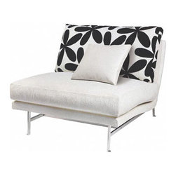 Modern Dose - Contemporary and slightly whimsical, this cushy upholstered chair floats atop slender legs and adds a punch of black and white floral pattern to a living room, family room, study or bedroom.