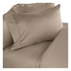 SCALA - Solid King-Size Taupe Sheet Set - We offer supreme quality Egyptian Cotton bed linens with exclusive Italian Finishing. These soft, smooth and silky high quality and durable bed linens come to you at a very low price as these come directly from the manufacturer. We offer Italian finish on Egyptian cotton, which makes this product truly exclusive, and owner's pride. It's an experience and without it you are truly missing the luxury and comfort!!
