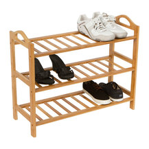 Trademark Innovations - Shoe Rack, 100% Natural Bamboo, 3 Rack - This easy to assemble 3 tier ...