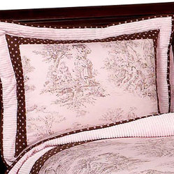 Pink & Brown Toile Pillow Sham