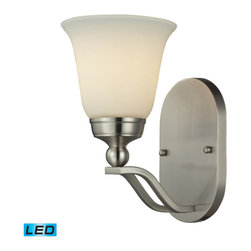 Elk Lighting - Elk Lighting 11500/1 Sullivan 1 Light Sconce in Brushed Nickel - 1 Light Sconce in Brushed Nickel belongs to Sullivan Collection by Gently Curving Double Arms Arch Towards Stylish, Flared Shaped Opal White Glass. The Qualities Of The Opal Glass Provide A Pleasantly Diffused Light For Daily Use As Well As For Special Occasions.��_��__A Brushed Nickel Finish Provides Versatility To Coordinate With A Host Of Room Settings. Sconce (1)