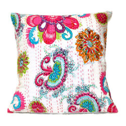 Tomova Jai Designs - Authentic Indian Kantha Decorative Pillow, White - Beautiful authentic Indian Kantha Pillows.