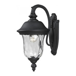 One Light Black Clear Waterglass Glass Wall Lantern - Traditional charm emanates from this small outdoor wall mount fixture, which pairs clear water glass with black hardware for a timeless look.