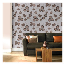 Graham & Brown - Horizon Wallpaper - A beautiful floral trail of fashionable pom-pom flower heads and curving ribbon scrolls. The fluid movement in this design is modern and stylish.