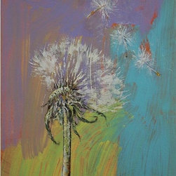 """Epic Art LLC - Dandelion Michael By Creese 18""""X23"""" Gallery Wrapped Canvas - Michael Creese paints in the oil impasto style, a technique used in art where paint is laid thickly on canvas, leaving visible brush (or palette knife) strokes. When dried, impasto provides a great deal of texture to finished paintings."""