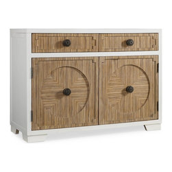 Hooker Furniture - Melange Veramonte Chest - A subtle, zebra-patterned veneer set off by a white border in the Veramonte Chest offers a truly unique design to liven any space.  Two drawers.  Two doors with center partition.  One adjustable wood shelf behind each door.  Two removable wine racks.