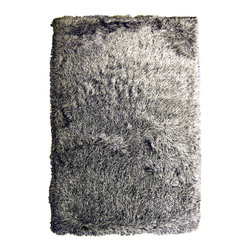 iCustomRug - Revolution Shag Silky Rug Black and White 8'x10' - Revolution Shag adds rebellious look to your decor. The long shinny pile of this rug is reminiscent of the typical 1970's shag style. Even with the long fibers this shag fits easily under furniture. This fabulous shag will add warmth to your decor and will create an elegant and sophisticated look.