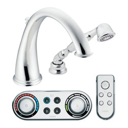 """Moen - Moen T9212 Chrome Roman Tub Trim With Handshower Including Iodigital Technology - Moen T9212 is part of the Kingsley bath collection. Moen ioDigital T9212 has a Chrome finish. Moen T9212 is a Roman Tub Trim 2-hole installation, with 9 long and 9 15/16"""" high arc spout for conventional styling. Moen T9212 Roman Tub Trim includes a single-function Handshower and 3 programmable presets ioDigital technology puts you in control of precise temperature, flow and custom presets. Also includes child safety lock/unlock. Moen T9212 Roman Tub Trim fits the MPact common valve system and requires Moen's 4994 valve, 4998 spout shank and T3490 series controller. (Sold Separately) Moen's Roman Tub digital remote uses RF technology and has a 30? range depending on intermediary structures. For optional remote refer to A349 series. (Sold Separately) Chrome is a proven finish from Moen and provides style and durability. Moen T9212 meets ASME A112.18.1/CSA B-125.1, CSA B125.3, and ASSE1070 Digital controller meets UL195"""". Digital controller and remote meets FCC part 15. Lifetime Limited Warranty and 5 Year commercial on finish and defects. 5 year on consumer and 1 year on commercial on digital components"""