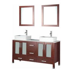 Adornus - Adornus ADRIAN-59-C-Q Chestnut Vanity - All Wood Vanity with White Quartz top and ceramic Vessel.