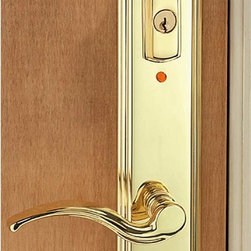 "Renovators Supply - Door Locks Bright Solid Brass Right Hand Entrance Door Lock/Alarm - Right Glendale Lever has a 2 3/8"" backset.  Handle measures 4 3/4"" long. Plate is polished and lacquered. Entrance set measures 11 1/4"" long x 2 3/16"" wide.  It fits 1 3/4"" doors.  The alarm sound is 130-decibel signal (50% louder than conventional smoke detectors.)  After two minutes, the unit will automatically re-set itself.  It has a 20 second delay feature which gives you time to leave the house and lock the door."