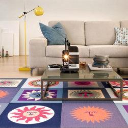 La Fonda del Sol-Azul Printed Carpet Tile 3' x 5' Rug Set - Alexander Girard's happy prints originally used in his design of La Fonda Del Sol are now available as a rug. Six tiles.