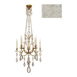 Fine Art Lamps - Encased Clear Crystal Gems Chandelier, 725440-3ST - Give your room an aura of vintage glamour with this decadent antique silver chandelier dripping with strands of encased crystal gems. Gems are cut into varying geometric shapes and faceted for maximum candlelight sparkle. Try it over the bed or vanity; you'll feel like royalty.