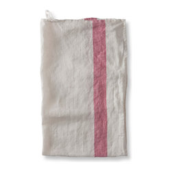 The Linen Works - Arles Linen Tea Towels, Raspberry Stripe, Set of 2 - These charming Arles linen tea towels give your kitchen the relaxed, vintage look of a French farmhouse.  Pre-washed and offered in charcoal, raspberry and navy.  Arles placemats, napkins and tablecloths are also available.