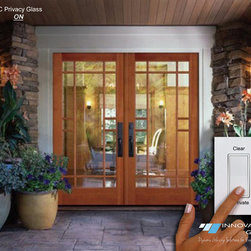 Switchable Privacy Glass Doors - eGlass will enhance the look and feel of any room, without detracting from the decor of the room itself. Windows glazed with our patented & state-of-the-art eGlass and other Dynamic glass products give homeowners the ability to instantly change the state of their glass from clear, to tint, to private at the touch of a button or automatically.