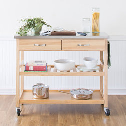 Castleton Home - Kitchen Island Cart with Stainless Steel Top - This sleek kitchen cart is a great way to keep your kitchen organized and all your cooking essentials close at hand. Two drawers and two shelves give you plenty of storage, and the large stainless top adds extra counter space. This kitchen cart will make preparing meals a breeze. Features: -Heavy gauge stainless steel top.-2 utility drawers on metal glides with stops.-Adjustable slatted middle shelf.-Solid bottom open storage area.-Brushed chrome handles.-Towel bar.-4 casters (2 locking).-Solid hardwood construction.-Distressed: No.Dimensions: -Overall dimensions: 36'' H x 44'' W x 20.5'' D.-Overall Height - Top to Bottom: 36.-Overall Width - Side to Side: 44.-Overall Depth - Front to Back: 20.5.-Overall Product Weight: 110 lbs.