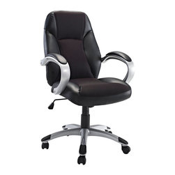 Modway Furniture - Modway Resonate Office Chair in Black - Office Chair in Black belongs to Resonate Collection by Modway Get into rhythm with punctuated moments of acceleration. The Resonate High Back Office Chair is a good and economical lesson in what makes functionality so meaningful. With a plush mesh padded back and seat and fashionably rounded dual-toned arms, take your day to the max without maxing out your credit card. Resonate comes with lumbar support, pneumatic height adjustment, a black nylon base, dual wheel carpet casters and a full 360 degree swivel. Set Includes: One - Resonate High Back Ergonomic Task Office Chair Officce Chair (1)