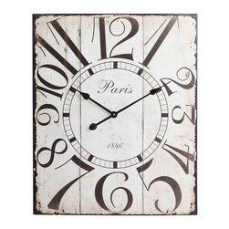 Cooper Classics - Cooper Classics Redding Clock, Distressed Off White - Add whimsical charm to your home's decor with the beautiful Redding Clock. This lovely wall clock features a distressed off white finish that will compliment any decor.