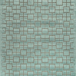 """Loloi Rugs - Loloi Rugs Halton Too Collection - Aqua, 7'-7"""" x 10'-6"""" - For Halton Too, Loloi borrows the power-loomed construction from its original Halton Collection, adding a series of fresh, tonal, chenille/viscose designs in sophisticated fabric-inspired and geometric patterns. The cool, serene palette spotlights on-trend blues, grays and silvers."""
