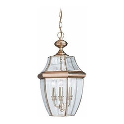 Sea Gull Lighting - 3-Light Pendant Polished Brass - 6039-02 Sea Gull Lighting Lancaster 3-Light Outdoor Pendant with a Polished Brass Finish
