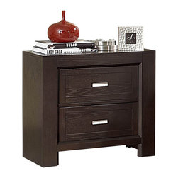 Homelegance - Homelegance Breese 2-Drawer Nightstand in Dark Cherry - With a scale that belies traditional contemporary styling, the Breese Collection offers a distinctly different option for your bedroom. The profile of each piece in the collection creates the perfect platform to highlight the grain of the wood veneer. The bed features additional storage space contained within the footboard. finished in a dark cherry, the collection is further complemented by brushed nickel hardware that punctuates each piece.