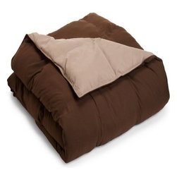 Grand Down Microfiber Reversible Comforter - Taupe / Chocolate - Guests will sleep soundly under the Home City Microfiber Reversible Comforter - Taupe/Chocolate. The microfiber cover comes in soothing hues of taupe and chocolate brown and it's reversible to blend in with any room. This comforter is filled with a down alternative that offers all the benefits of down without the potential allergens. It comes in twin, queen, or king sizes.