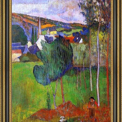 """Art MegaMart - Paul GauguView Pont-Aven Lezaven - 18"""" x 24"""" Paul Gauguin View of Pont-Aven from Lezaven framed premium canvas print reproduced to meet museum quality standards. Our Museum quality canvas prints are produced using high-precision print technology for a more accurate reproduction printed on high quality canvas with fade-resistant, archival inks. Our progressive business model allows us to offer works of art to you at the best wholesale pricing, significantly less than art gallery prices, affordable to all. This artwork is hand stretched onto wooden stretcher bars, then mounted into our 3 3/4"""" wide gold finish frame with black panel by one of our expert framers. Our framed canvas print comes with hardware, ready to hang on your wall.  We present a comprehensive collection of exceptional canvas art reproductions by Paul Gauguin."""