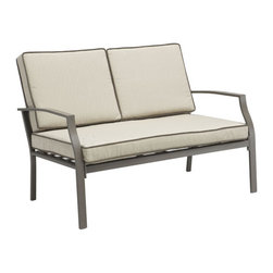 ZUO - Grand Beach Sofa - Lean back and put your feet up for an impromptu vacation. Even if you only have ten minutes, settling on one of the Grand Beach pieces calls up the feel of sand and surf. Featuring an aluminum frame and water-resistant beige cushions with dark piping, the series comes in an armchair, lounge, sofa, and coffee table. Sold separately.