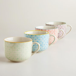 Charlotte Mugs, Set of 4 - Enjoy a warm cup of coffee in one of these generously sized Charlotte mugs. Available in four bright colors, they are a fun and festive way to upgrade your mug collection for spring.