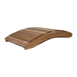 All Things Cedar - 6ft. Cedar Garden Foot Bridge - In addition to their great functional value, our arched garden bridges satisfy with solid cedar sides and clear Western Red Cedar foot planks. Item is made to order.