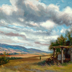 "Rebecca N King Fine Art - ""Tuscan Barn"" Oil Painting Art - Let the dynamic action of the Tuscan clouds transport you today and for years to come.  This original artwork was produced on location in Tuscany in 2011 by artist Rebecca N King as part of a collection of Tuscan plein air works.  The churning surface of blues, greys, pinks, warm greens and yellows capture the pleasure of a warm August day in the Italian countryside; a perfect tapestry of paint strokes to complement any room. Available unframed."