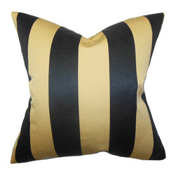 "The Pillow Collection - Naoko Stripes Pillow Gold Black - Bring a modern flair to your interiors with this striking accent pillow. This square pillow features a stripe pattern in shades of black and gold. With a pretty versatile design, this 18"" pillow can be used in different settings and themes. Made with a combination of high-quality materials: 50% silk and 50% polyester fabric. Hidden zipper closure for easy cover removal.  Knife edge finish on all four sides.  Reversible pillow with the same fabric on the back side.  Spot cleaning suggested."