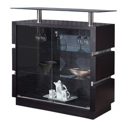 Global Furniture - Global Furniture USA G072-B Glass Top Bar Cabinet in Wedge - This modern bar is finished with oak veneers in a wedge color with mirrored accents. It is elegant and stylish and would make a great addition to any dining room.