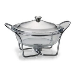 Lifetime Brands - Towle 2 Qt Round Warmer Glass - Towle Living  Modernist Chrome-Plated 2-Quart Round Warmer with Glass Lid.  . The round  oven-safe glass liner moves from oven to table to complete your dining experience with chrome-plated stand and lid. The added tea light feature keeps foods warm while you entertain your guests. The chrome-plated finish retains a bright luster and does not require polishing. The glass liner is oven-proof and microwave safe up to 500 degrees F. Hand-wash lid and stand with non-abrasive detergent and soft cloth  then towel dry. Glass liner is dishwasher safe.  This item cannot be shipped to APO/FPO addresses. Please accept our apologies.
